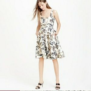 J. Crew Linen Dress with Gold Accents sz 10